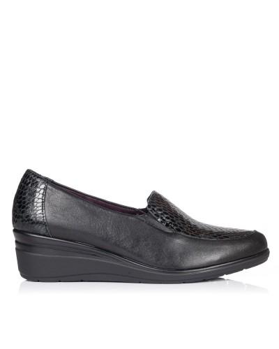 Zapato mocasin piel cuña Mujer Pitillos 5726