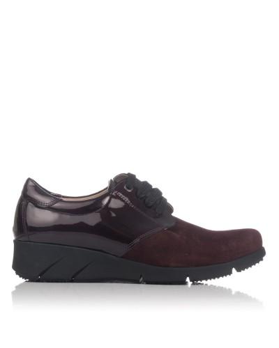 Zapato cordones piel combi Mujer Lince 88759