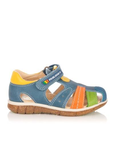 Sandalia piel combinada Niños Pablosky 058116