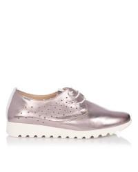 Zapato cordon piel metalizada Mujer Baerchi 37051