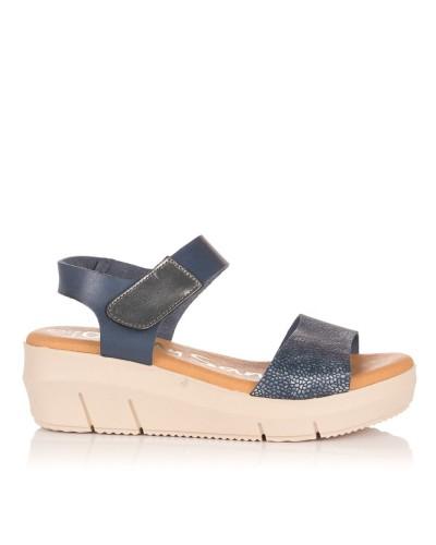 Sandalia velcro cuña piel Mujer Oh my sandals 4344