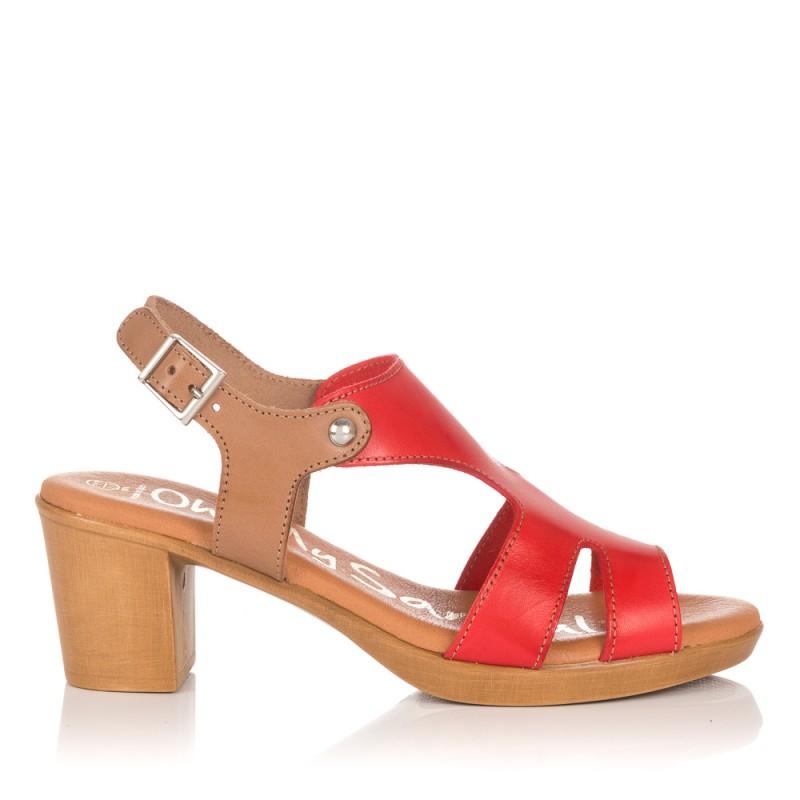 Sandalia piel tacon medio