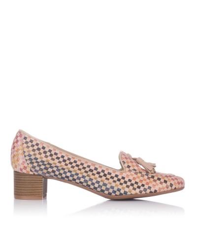 Zapato borlas piel tacon medio Mujer Maria jaen 6