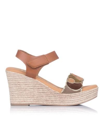Sandalia piel cuña alta Mujer Oh my sandals 4712