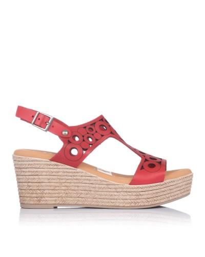 Sandalia calados piel cuña Mujer Oh my sandals 4705