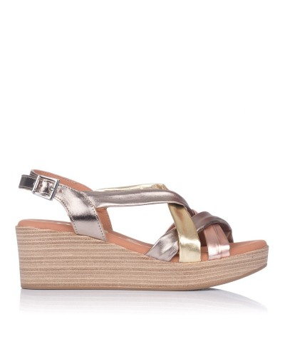 Sandalia tubulares piel cuña Mujer Oh my sandals 4687