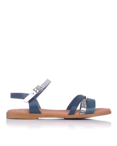 Sandalia piel combi plana Oh my sandals 4646