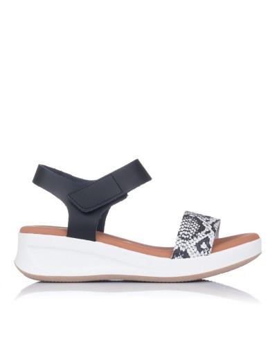 Sandalia piel reptil cuña Mujer Oh my sandals 4676
