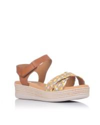 Sandalia rafia combi plana Oh my sandals 4680