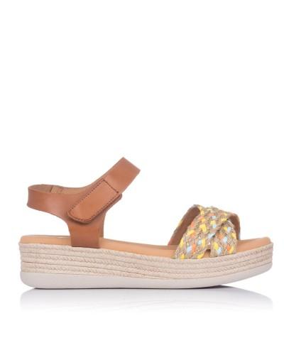 Sandalia rafia combi plana Mujer Oh my sandals 4680