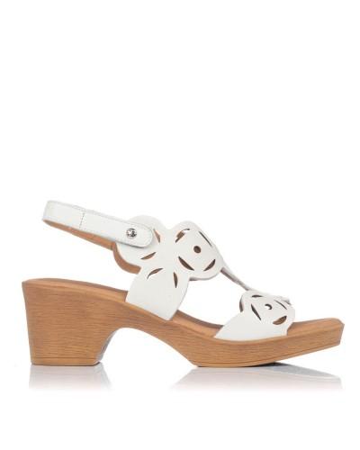 Sandalia calados piel tacon Mujer Giorda 55820