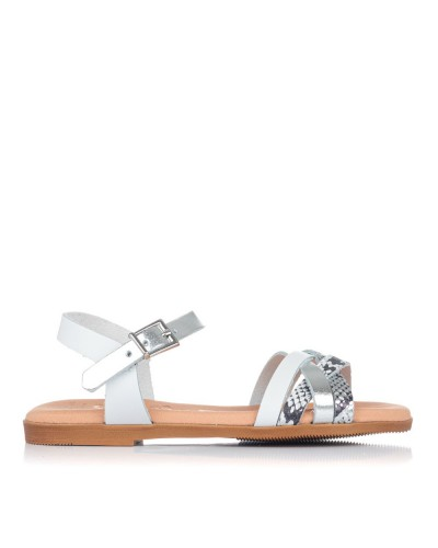 Sandalia piel reptil combinada Niñas Oh my sandals 4754
