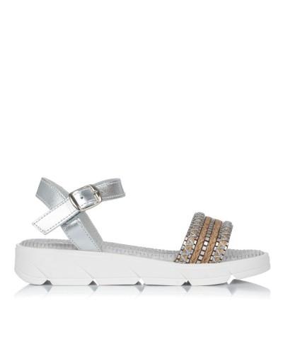 Sandalia piel plataforma combi Niñas Gomez 4102