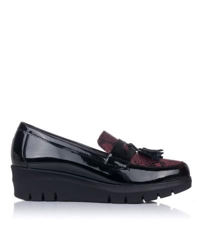 Zapato mocasin borlas cuña Mujer Pitillos 6452