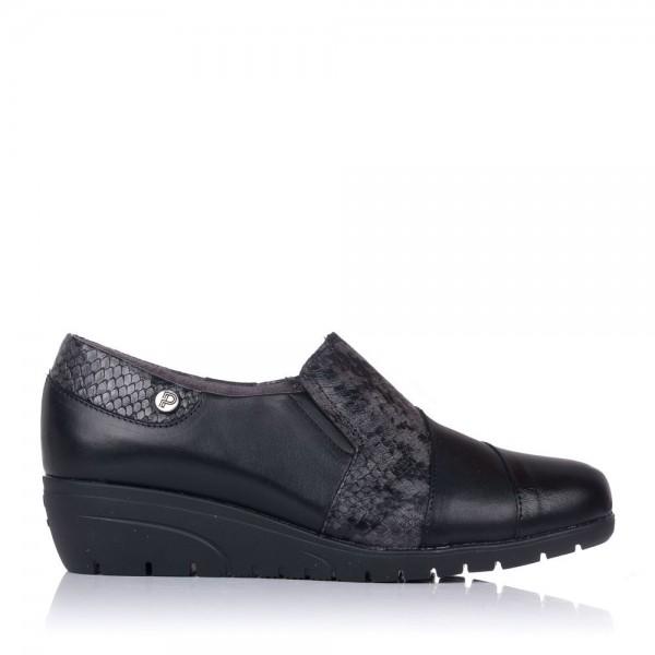 Zapato piel combinado cuña Pitillos 2120