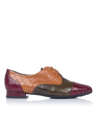Zapato cordones piel combinado Mujer Pitillos 6381