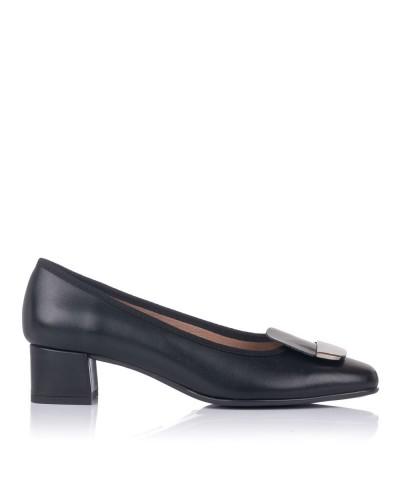 Zapato piel aplique tacon bajo Mujer Gomez 9201