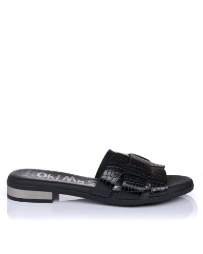 Zueco piel coco tacon plano Oh my sandals 4815