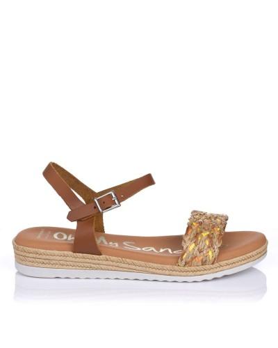 Sandalia rafia plana Oh my sandals 4835