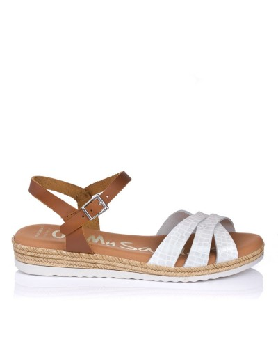Sandalia piel coco plana Oh my sandals 4832